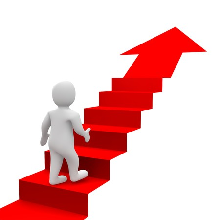 stair: Man en rood trap. 3D-geren derde afbeelding.  Stockfoto
