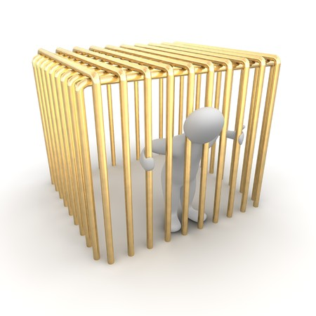 men bars: Man jailed in golden cage. 3d rendered illustration.