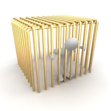 detenuti: Uomo imprigionato in una gabbia dorata. illustrazione di rendering 3D.