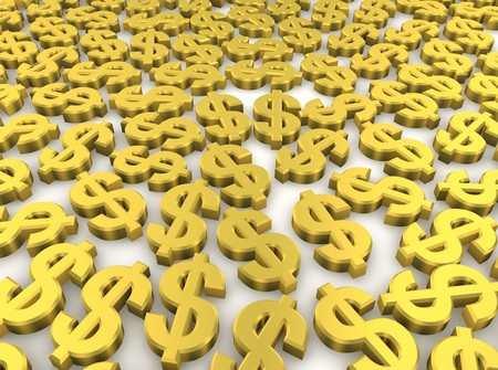 value: Golden dollar currency symbols background. 3d rendered image