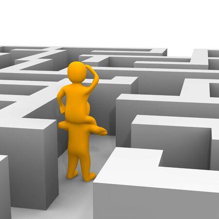 constat: Conclusion le chemin dans le labyrinthe. illustration de rendu 3D.