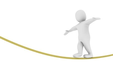 steadiness: Man balancing on the rope. 3d rendered illustration.