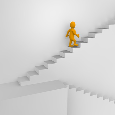 to go: Man and stairs. 3d rendered illustration. Stock Photo