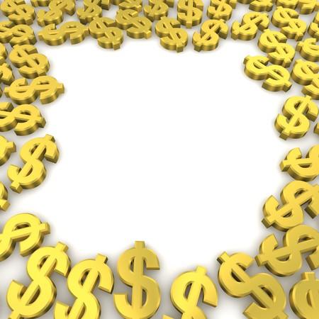 signos de pesos: Marco de oro los s�mbolos de moneda de d�lar. imagen 3D  Foto de archivo