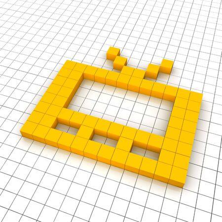 Television 3d icon in grid. Rendered illustration. Stock Illustration - 7834472