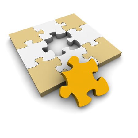 Jigsaw puzzle with last missing piece. 3d rendered illustration. illustration
