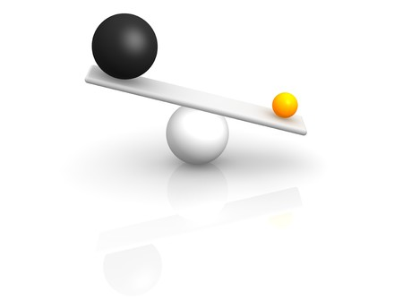 better: Strange balance. 3d rendered illustration. Stock Photo