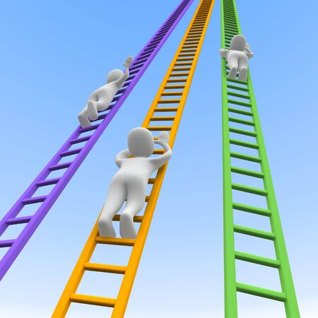 step up: Competition and ladders. 3d rendered illustration.