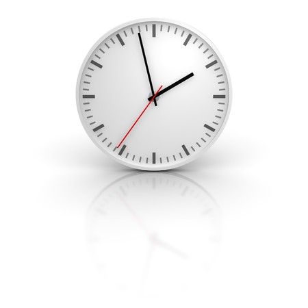 White clock with reflection. 3d rendered illustration. Stock Photo