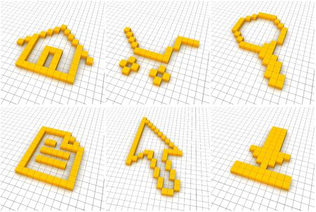 Set of 6 orange icons in grid. 3D rendered. Stock Photo - 7863039