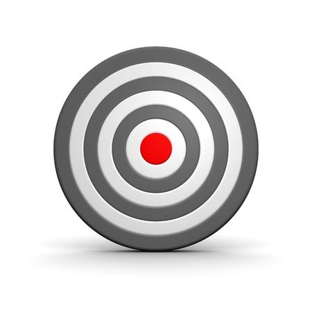 Black and white target with red center. 3d rendered illustration. Stock Illustration - 7863035