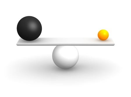 equalization: Uneven balls in balance. 3d rendered illustration.