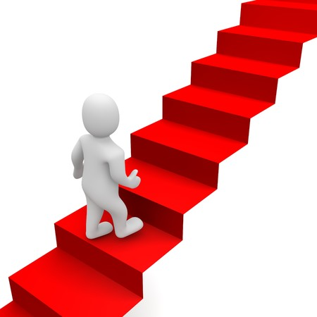 to go: Man and red carpet stairs. 3d rendered illustration. Stock Photo