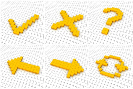 Set of 6 orange icons in grid. 3D rendered. photo