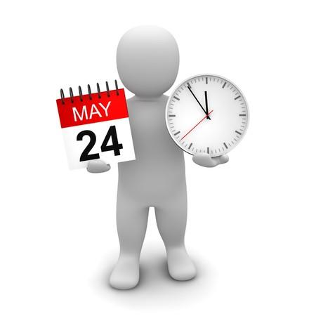 Reloj de explotación del hombre y calendario. Ilustración procesada 3D.