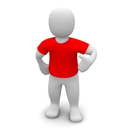 Man wearing red t-shirt. 3d rendered illustration. Stock Photo