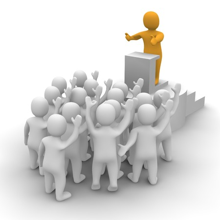 leaders: Leader speaking to audience. 3d rendered illustration. Stock Photo