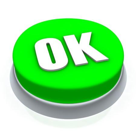 OK round button 3d. Isolated on white. photo