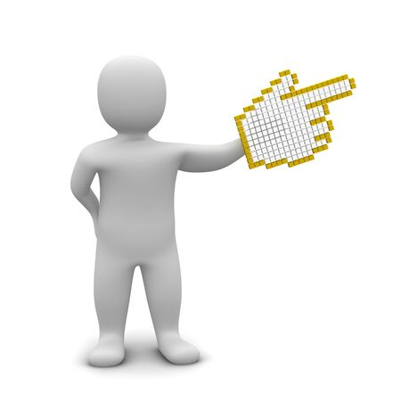 Man pointing with big mouse cursor. 3d rendered illustration.