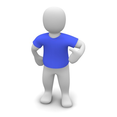 tee shirt: Man wearing blue t-shirt. 3d rendered illustration.
