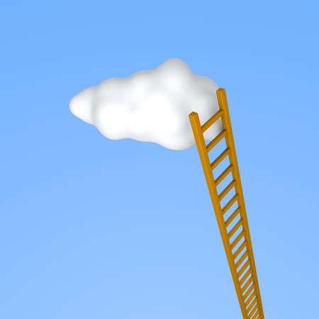 Ladder to the sky. 3d rendered illustration. illustration