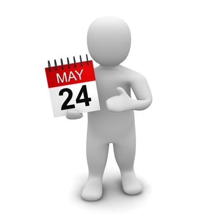 cronogramas: Calendario de explotaci�n del hombre. 3D ilustraci�n procesada aislado en blanco.