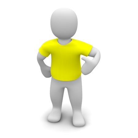 Man wearing yellow t-shirt. 3d rendered illustration.