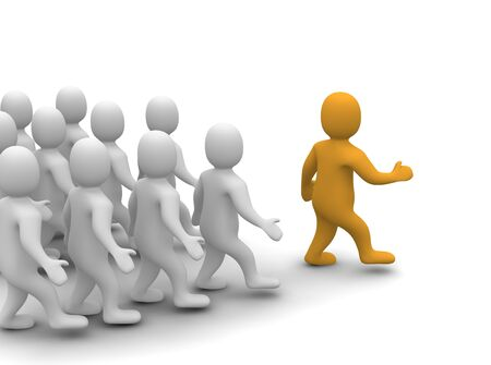 leading: Leader leading his group. 3d rendered illustration.