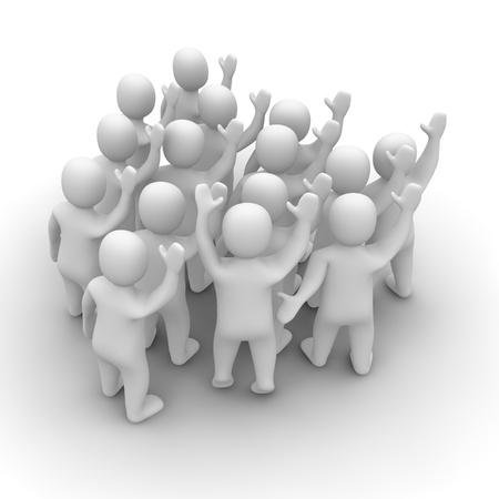 rendered: Waving people group. 3d rendered illustration isolated on white. Stock Photo