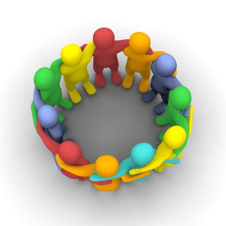 my friend: Social group of friends. 3d rendered illustration isolated on white.