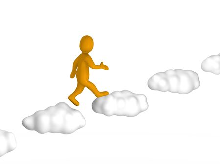 step up: Man going up to the sky. 3d rendered illustration isolated on white.