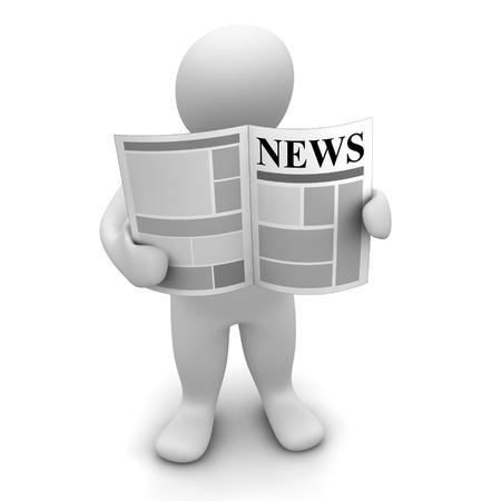lezing: Man permanent en het lezen van de krant. 3D-gerenderde afbeelding. Stockfoto