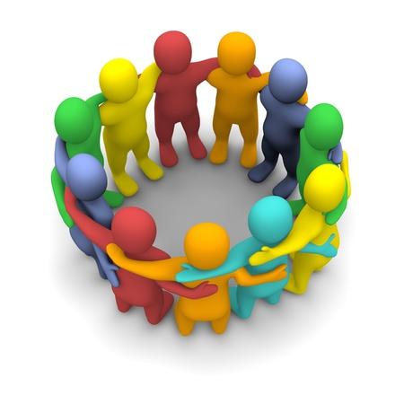 people connected: Social group of friends. 3d rendered illustration isolated on white.