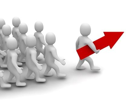 follow the leader: Leider op zijn weg naar succes. 3D-gerenderde afbeelding.