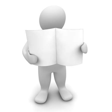 Man holding blank paper or newspaper. 3d rendered illustration.