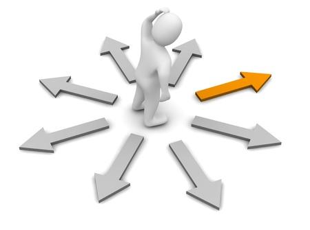 Kies de juiste richting. 3d teruggegeven illustratie.