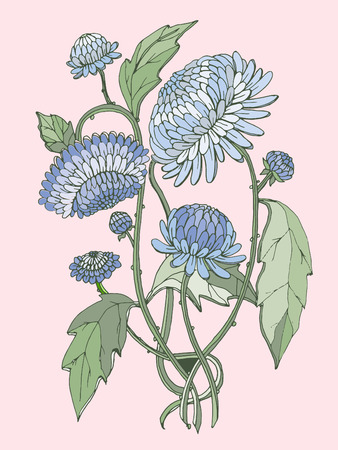 chinoiserie: chinoiserie collection vector chrysanthemum bouquet for wedding and summer design