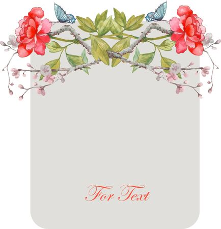 chinoiserie: vector card on chinoiserie style with watercolor peony and butterfly