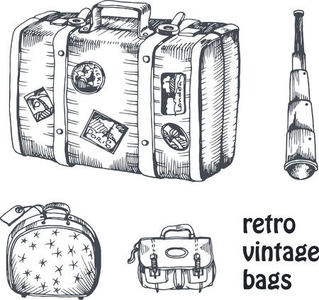 dibujos lineales: vector de la mano de la vendimia de dibujo conjunto de maleta y bolsas con el catalejo para viajar y viaje Vectores