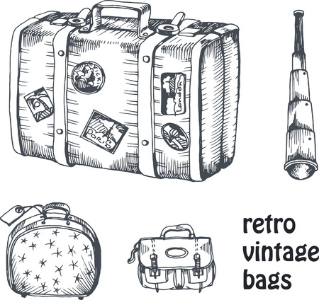 hand drawing: vintage vector hand drawing set of suitcase and bags with spyglass for traveling and voyage