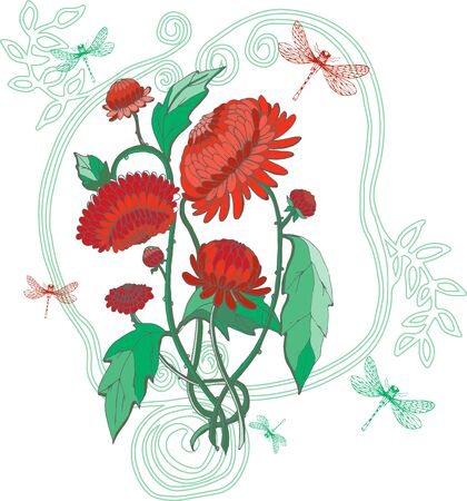 chinoiserie: red chrysanthemums with dragonfly and vintage frame in chinoiserie style for wallpaper, wedding, textile and scrapbooking design