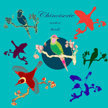 chinoiserie: Vector hand drawing vintage little birds in chinoiserie style for wallpaper, wedding, textile and scrapbooking design