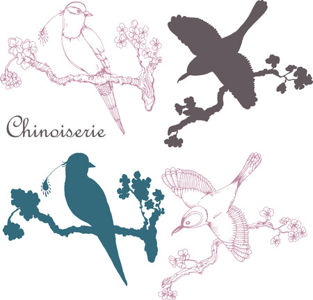 pink flower background: Vector hand drawing vintage little birds in chinoiserie style for wallpaper, wedding, textile and scrapbooking design
