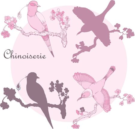 Vector hand drawing vintage little birds in chinoiserie style for wallpaper, wedding, textile and scrapbooking design