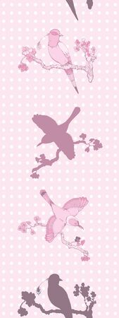 chinoiserie: Vector seamless pattern hand drawing vintage little birds in chinoiserie style for wallpaper, wedding, textile and scrapbooking design Illustration