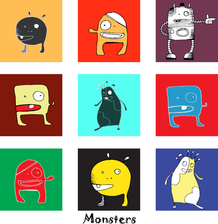 ugliness: vector pattern with funny monsters for kids and other design