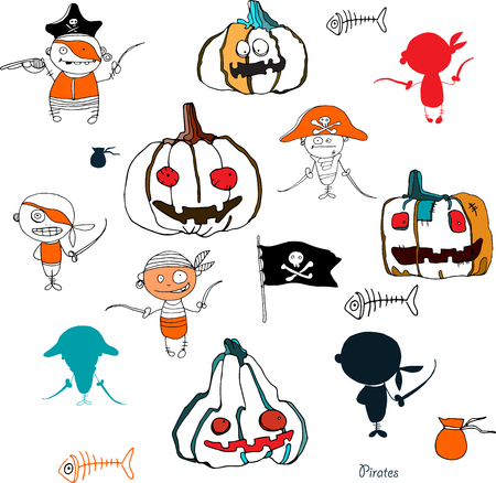 hollidays: vector little funny pirates and halloween pampkins on white background with silhouettes for hollidays design