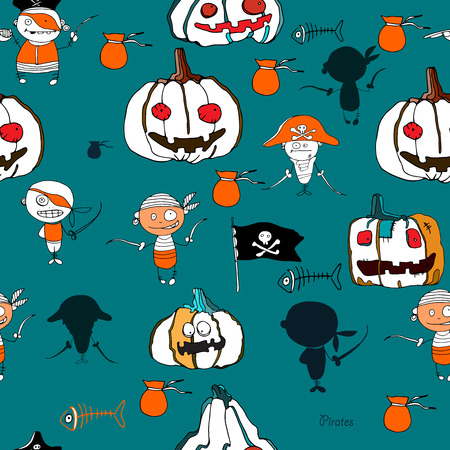 hollidays: seamless vector little funny pirates and halloween pampkins on green background with silhouettes for hollidays design Illustration