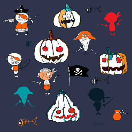 hollidays: vector little funny pirates and halloween pampkins on white background deep blue silhouettes for hollidays design