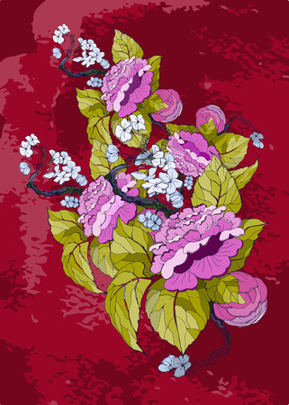 chinoiserie: vector hand drawing peonies in chinoiserie style for wedding and floral design